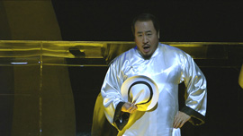 Bass Hao Jiang Tian sings the role of Chang the Coffinmaker, the opera's villain.