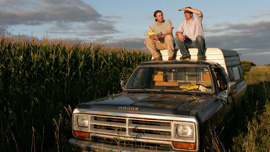 Ian Cheney and Curt Ellis in their acre of corn in Iowa