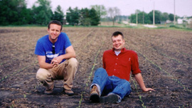 Ian Cheney and Curt Ellis at the acre on harvest day