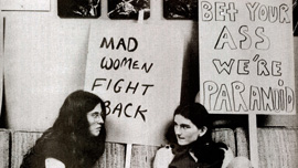 Psychiatric survivors during a protest in 1976