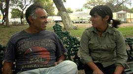 Augie Garcia and filmmaker Monika Navarro catch up in Parque Morelos, Guadalajara, México