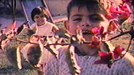 Gino Garcia peeks behind a bush as his sister Gaby smiles behind him in their 8mm home movie