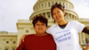 Garment worker Maura and organizer Joann in front of the US Capitol