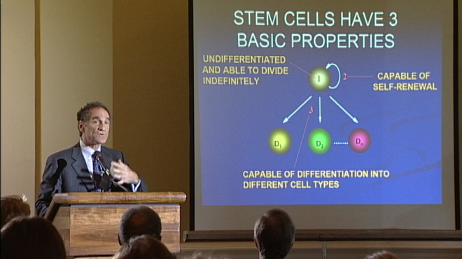 Dr. Jack Kessler giving a presentation on stem cell research
