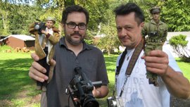 Director Jeff Malmberg and Mark Hogancamp with their Marwencol alter egos