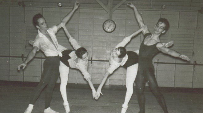 Margarita and Ramona de Saa rehearsing with dance partners, National Ballet of Cuba, 1958
