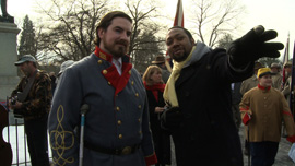 Director Shukree Tilghman with Brandon Dorsey, of the Sons of Confederate Veterans