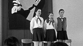 Girls performing at school assembly, Moscow, late 1970s
