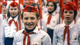 Children on Red Square during parade, 1977