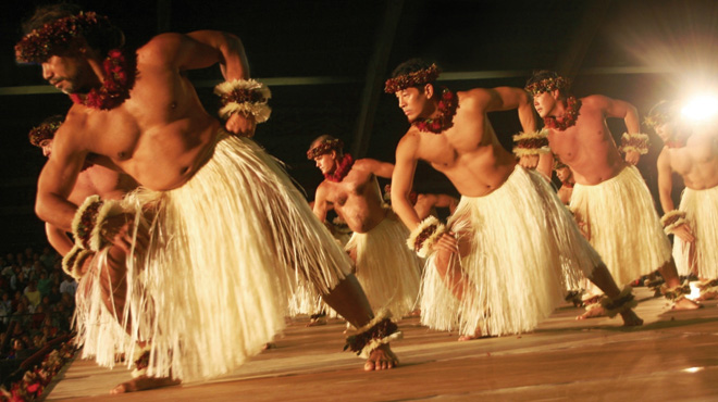 The men of Na Kamalei on stage