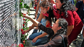 Margarita Zamora at the Monument to Memory and Truth, San Salvador, at the Day of the Dead commemoration