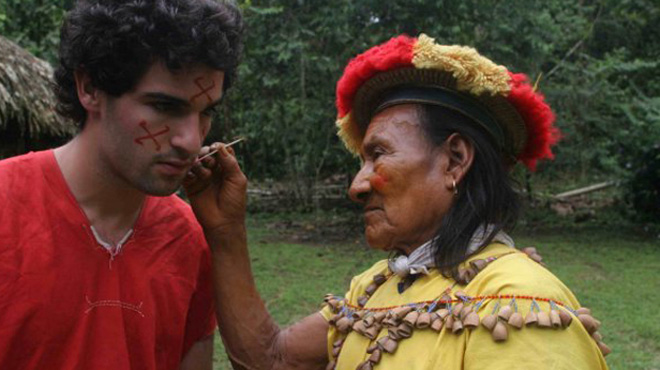 David Poritz with a shaman of the Secoya tribe of Ecuador.