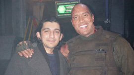 Muthana Mohmed and Dwayne &quot;The Rock&quot; Johnson on the set of DOOM in Prague 
