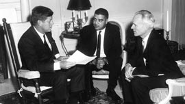 John F. Kennedy , Whitney Young, and Henry Steeger in the Oval Office   