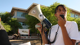 Crystal leads demonstrations to save the classes in front of Tucson High