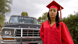 Mexican American/Raza Studies senior Crystal on graduation day