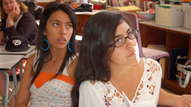 Crystal and Pricila in their Latino Literature class at Tucson High
