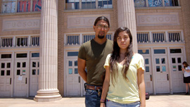 Mexican American/Raza studies teacher José Gonzalez and student Pricila in front of Tucson High