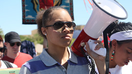 Mexican American/Raza studies student Mariah at an immigrants rights rally in Phoenix, Arizona