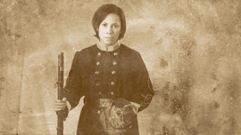 Under the alias of Harry Buford, Loreta Velazquez (Romi Dias) passed as a confederate soldier