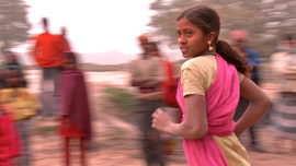 Kajol, 11-year-old child laborer and budding activist, running