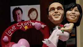 While in China, Sandy had a plastic replica created of Steven and herself looking like two happy lovebirds.