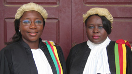 State prosecutor Vera Ngassa with Judge Beatrice Ntuba