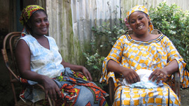 Ladi Ibrahim and Amina Abubakari in their compound