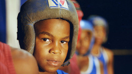 Close up image of young Cuban boxer Santos Urguelles