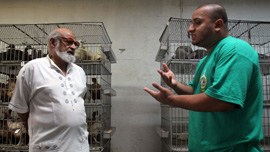 Imran Uddin and his father, Riaz Uddin, at the family's halal slaughterhouse