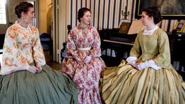 Katie Beach, Jadrienne Myhre, Katherine Housley in the parlor of the Columbia Athenaeum