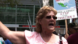 Renee Taylor demonstrates in support of SB 1070 outside the federal court house.