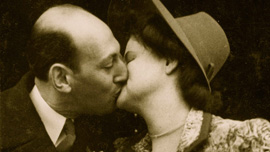Jack and Ina's wedding kiss 1946