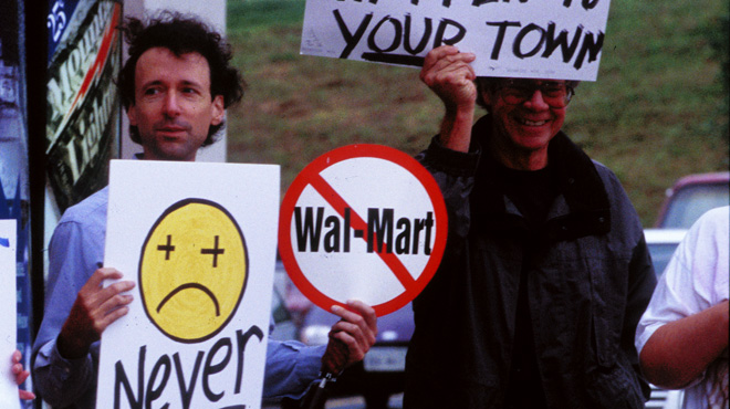 Still from <i>Store Wars: When Wal-Mart Comes To Town</i>