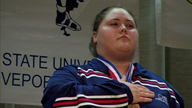 Haworth on the medal stand, PanAmerican Championships, 2005