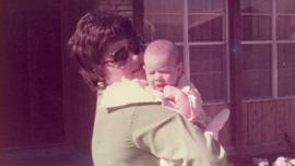 Adoptive parent, Pat, with Karen Skloss as a baby