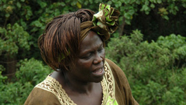 Maathai plants a tree in the Aberdare Forest, Kenya
