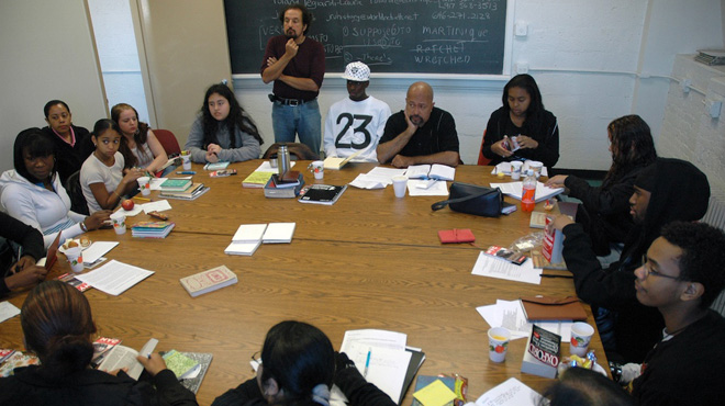 Power Writers in their seminar room, Bronx Community College read and feed session