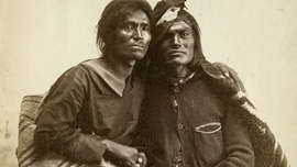 Historic photo of Navajo couple from the collection of the Museum of New Mexico, 1866 