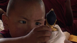 The unmistaken child looking at a Buddha statue
