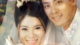 Wedding photo of Tran Minh Dang with his wife Thuy