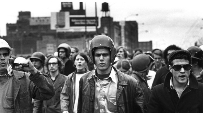 John Jacobs (l) and Terry Robbins (r) at the Days of Rage, Chicago, October 1969