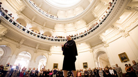 Barbara Smith Conrad in the Rotunda of the Texas Capitol