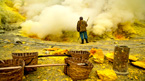 Follow four sulfur miners working in an active Indonesian volcano.