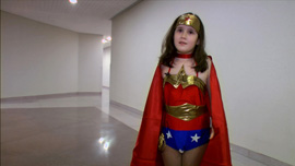 Nine-year old, Katie, dressed as Wonder Woman