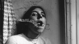 Francesca Woodman in a self-portrait titled: Self portrait talking to Vince 1975-1978 (Providence RI)