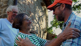 George, Betty and Charlie Woodman at the Woodman studio in Antella, Italy