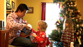 Tom Xia's first Christmas at the Jones home, with Finley and Tessa